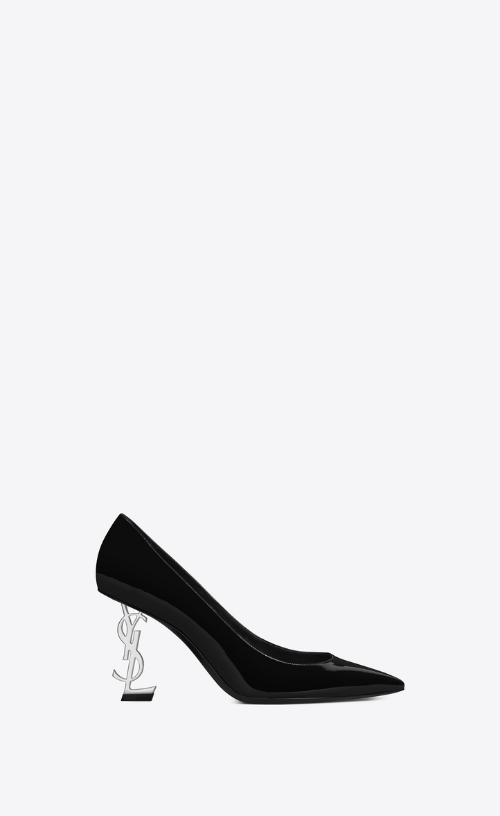 147b8551cf8 Saint Laurent OPYUM 85 Pump In Black Patent Leather And Silver Toned ...