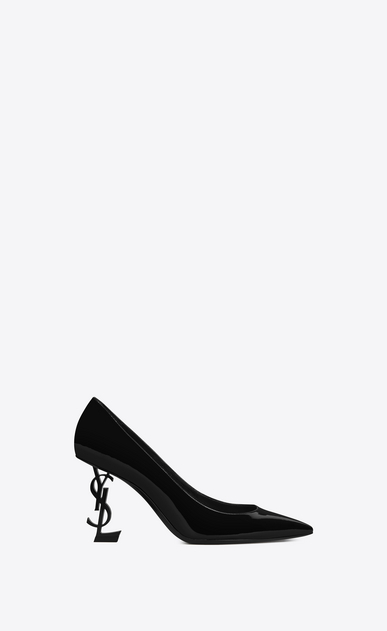 SAINT LAURENT YSL heels Woman OPYUM 85 Pump in Black Patent Leather and Chrome a_V4