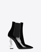 SAINT LAURENT YSL heels D OPYUM 110 Ankle Boot Black Patent Leather and silver-toned Metal f