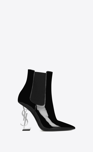 SAINT LAURENT YSL heels Woman OPYUM 110 Ankle Boot Black Patent Leather and silver-toned Metal a_V4