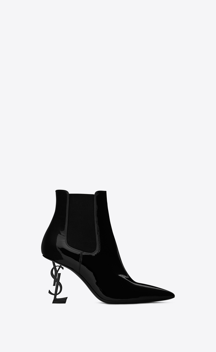 saint laurent opyum bootie in patent leather with black heel