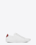 SAINT LAURENT Trainers D Signature COURT CLASSIC SL/06 LIPS Sneaker in Optic White Leather and Red and Blue Metallic Snakeskin f