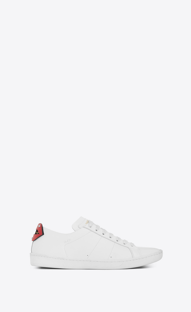 SAINT LAURENT Trainers D Signature COURT CLASSIC SL/01 LIPS Sneaker in Optic White Leather and Red and Blue Metallic Snakeskin a_V4