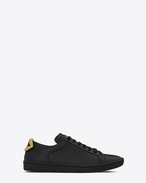 SAINT LAURENT Trainers D Signature COURT CLASSIC SL/01 LIPS Sneaker in Black Leather and Silver and Gold Metallic Snakeskin f