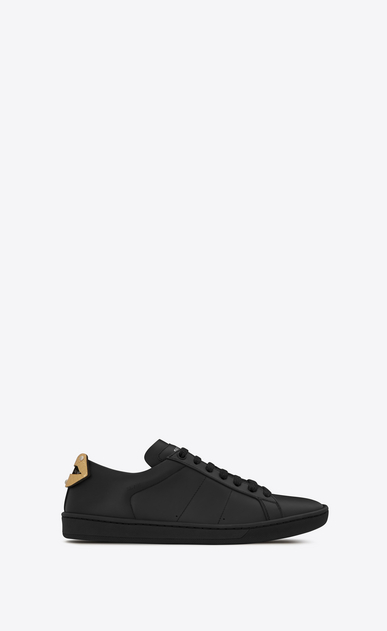 SAINT LAURENT Sneakers D Signature COURT CLASSIC SL/01 LIPS Sneaker in Black Leather and Silver and Gold Metallic Snakeskin a_V4