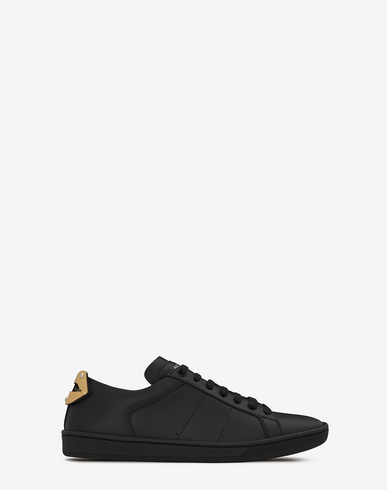 SIGNATURE COURT SL/01 LIPS SNEAKER IN BLACK LEATHER AND SILVER AND GOLD METALLIC SNAKESKIN