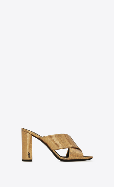 SAINT LAURENT Loulou D LOULOU 95 Crisscross Sandal in Bronze Metallic Leather a_V4