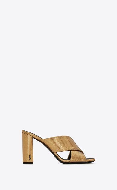 SAINT LAURENT Loulou D LOULOU 95 Crisscross Sandal in Bronze Metallic Leather v4
