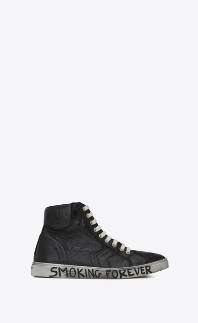 "SAINT LAURENT Sneakers D Joe ""BAD LIEUTENANT"" Mid Top Sneaker in Black Glitter Canvas, Suede and Leather a_V4"