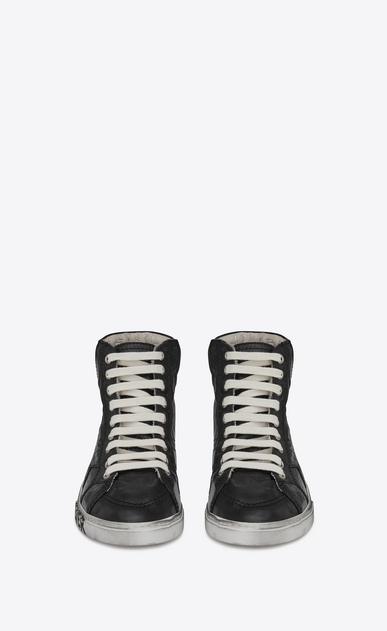 "SAINT LAURENT Trainers D joe ""BAD LIEUTENANT"" Mid Top Sneaker in Black Glitter Canvas, Suede and Leather b_V4"