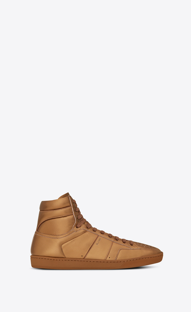 SAINT LAURENT SL/10H Man signature court sl/10h in dark gold metallic leather a_V4