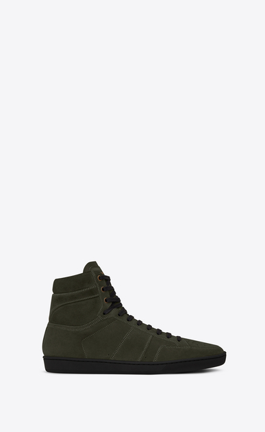 SAINT LAURENT SL/10H Man signature court sl/10h in army green suede a_V4