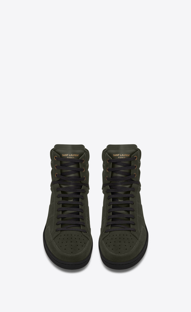 SAINT LAURENT SL/10H Man signature court sl/10h in army green suede b_V4