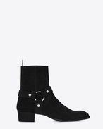 SAINT LAURENT Stivali U Stivali WYATT40 Harness neri in scamosciato f