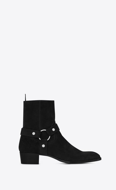 SAINT LAURENT Boots Man WYATT40 Harness Boot in Black Suede a_V4