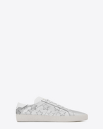 SAINT LAURENT SL/06 U Signature COURT CLASSIC SL/06 CALIFORNIA Sneaker in Silver Metallic Leather and Optic White Leather  f
