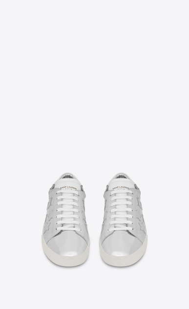 SAINT LAURENT SL/06 U Signature COURT CLASSIC SL/06 CALIFORNIA Sneaker in Silver Metallic Leather and Optic White Leather  b_V4