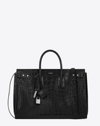 SAINT LAURENT Sac de Jour Men U Bag Large SAC DE JOUR SOUPLE nera in coccodrillo stampato f