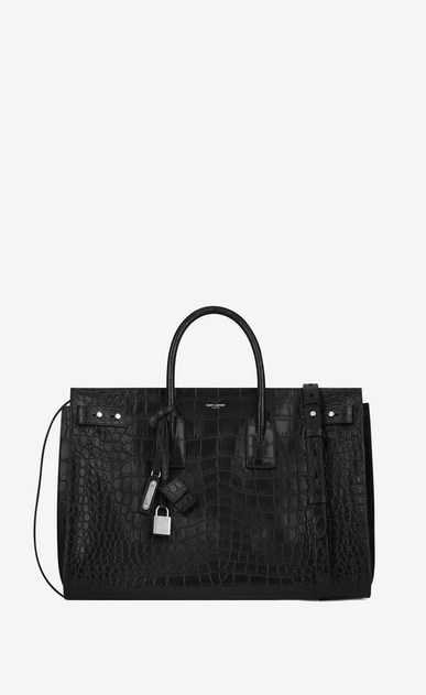 SAINT LAURENT Sac de Jour Men Uomo Bag Large SAC DE JOUR SOUPLE nera in coccodrillo stampato a_V4