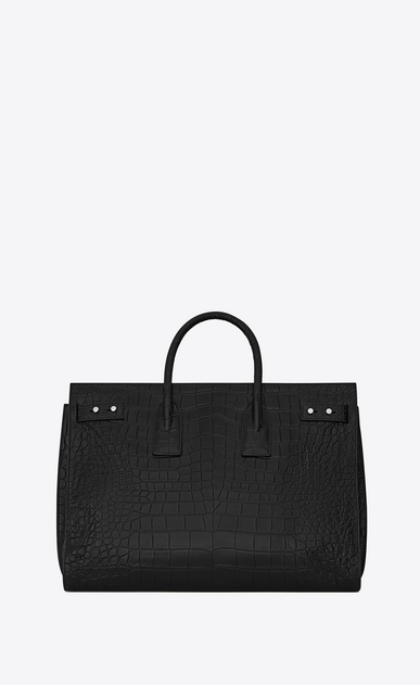 SAINT LAURENT Sac de Jour Men Man Large SAC DE JOUR SOUPLE Bag in Black Crocodile Embossed Leather b_V4