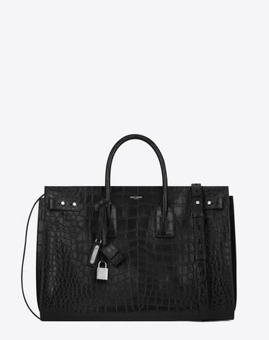 SAINT LAURENT Large Sac De Jour Souple Bag In Black Crocodile Embossed Leather