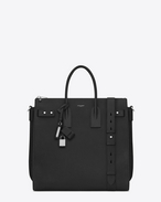SAINT LAURENT Sac de Jour Men U SAC DE JOUR SOUPLE North/South Tote nera in pelle martellata f