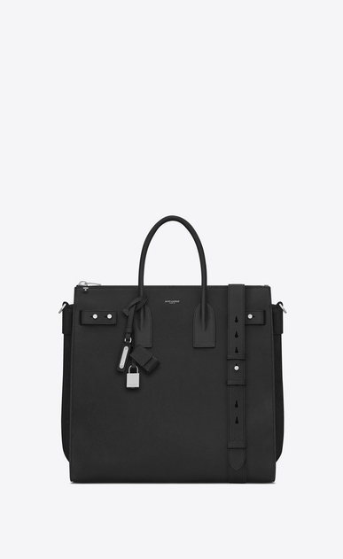 SAINT LAURENT Sac de Jour Men Man SAC DE JOUR SOUPLE North/South Tote in Black Grained Leather a_V4