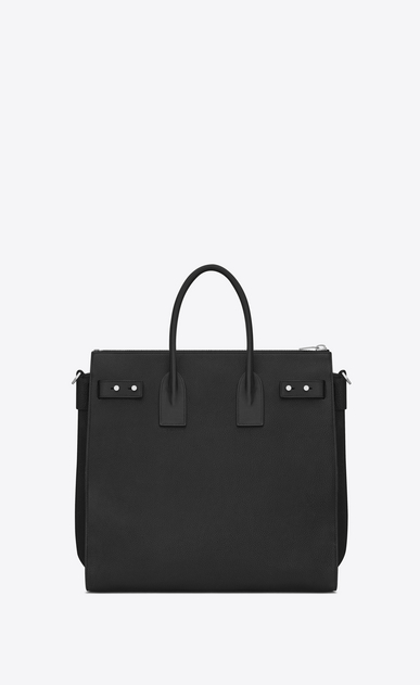 SAINT LAURENT Sac de Jour Men Uomo SAC DE JOUR SOUPLE North/South Tote nera in pelle martellata b_V4