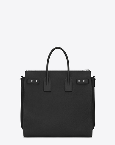 SAINT LAURENT Sac De Jour Souple North/South Tote In Black Grained Leather