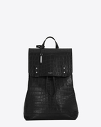 SAINT LAURENT Sac de Jour Men U SAC DE JOUR SOUPLE Backpack in Black Crocodile Embossed Leather f