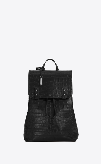 SAINT LAURENT Backpack Man SAC DE JOUR SOUPLE Backpack in Black Crocodile Embossed Leather a_V4