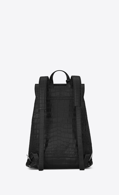 SAINT LAURENT Backpack Man SAC DE JOUR SOUPLE Backpack in Black Crocodile Embossed Leather b_V4