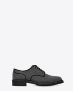 SAINT LAURENT Scarpe Classiche U Scarpe WILLIAM 25 Studded Derby nere in pelle e metallo argentato f