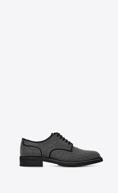 SAINT LAURENT Classic Shoes U WILLIAM 25 Studded Derby Shoe in Black Leather and Silver-Toned Metal a_V4