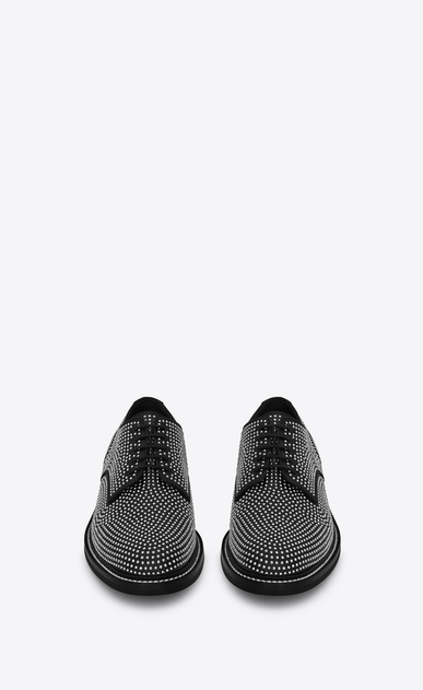 SAINT LAURENT Classic Shoes Man WILLIAM 25 Studded Derby Shoe in Black Leather and Silver-Toned Metal b_V4