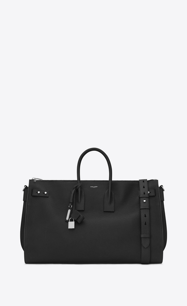 SAINT LAURENT Sac de Jour Men Uomo Duffle Bag Large SAC DE JOUR SOUPLE 48H nera in pelle martellata a_V4