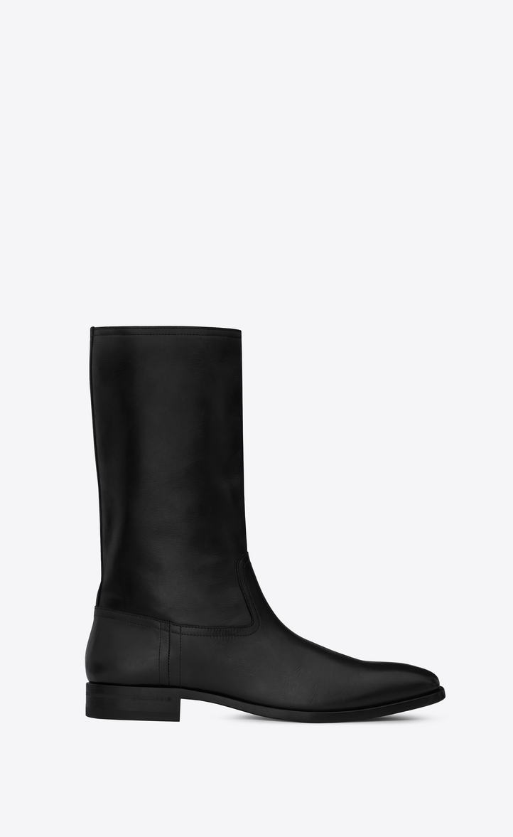 Saint Laurent MATT 25 Boot In Black Leather   YSL.com