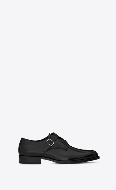 SAINT LAURENT Classic Shoes U DARE 25 Crossed Monkstrap Shoe in Black Leather a_V4