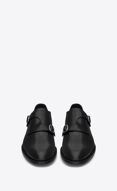 SAINT LAURENT Classic Shoes U DARE 25 Crossed Monkstrap Shoe in Black Leather b_V4