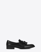 SAINT LAURENT Scarpe Classiche U Mocassini MONTAIGNE 25 in pelle nera con nappine f