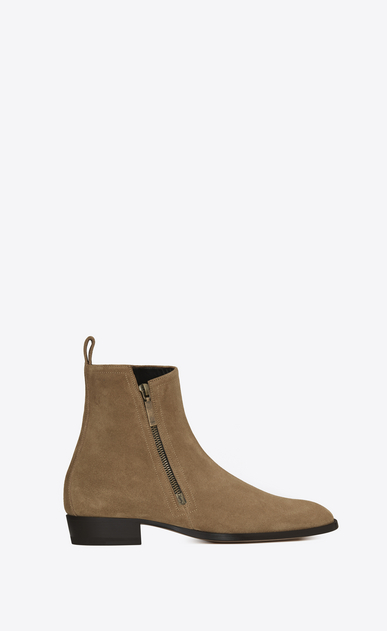 SAINT LAURENT Boots Man WYATT 30 Zip Boot in Light Tobacco Suede a_V4