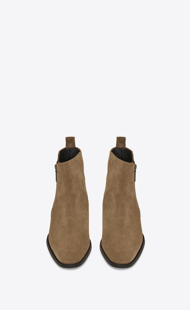 SAINT LAURENT Boots Man WYATT 30 Zip Boot in Light Tobacco Suede b_V4