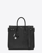 SAINT LAURENT Sac de Jour Men U SAC DE JOUR SOUPLE North/South Tote in Black Crocodile Embossed Leather f