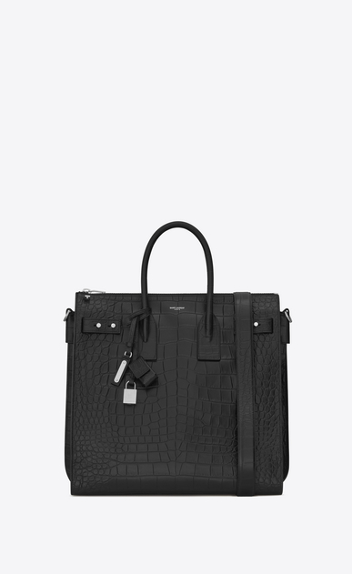 SAINT LAURENT Sac de Jour Men U SAC DE JOUR SOUPLE North/South Tote in Black Crocodile Embossed Leather a_V4