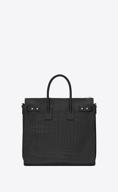 SAINT LAURENT Sac de Jour Men U SAC DE JOUR SOUPLE North/South Tote in Black Crocodile Embossed Leather b_V4
