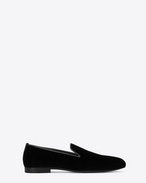 SAINT LAURENT Scarpe Classiche U Slipper SMOKING 15 MONOGRAM neri in velluto f