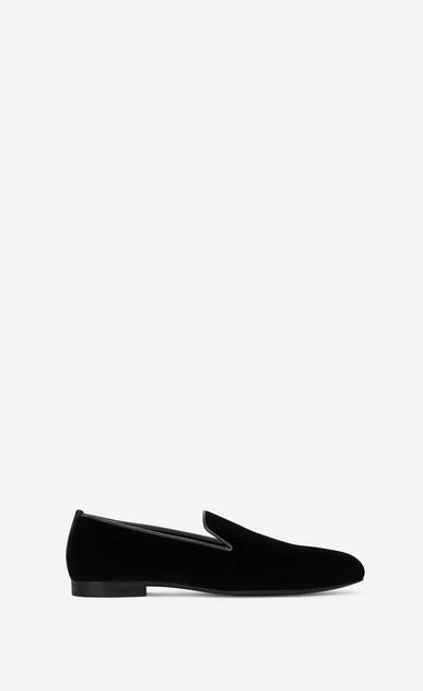 SAINT LAURENT Classic Shoes Man SMOKING 15 MONOGRAM Slipper in Black Velvet a_V4