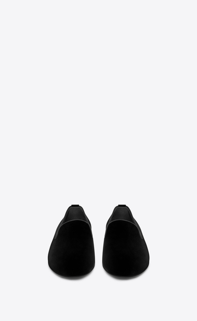 SAINT LAURENT Classic Shoes Man SMOKING 15 MONOGRAM Slipper in Black Velvet b_V4
