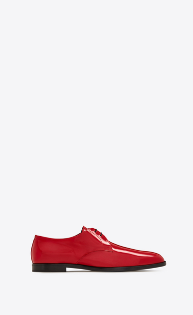 SAINT LAURENT Classic Shoes U SMOKING 15 Derby in Red Patent Leather a_V4
