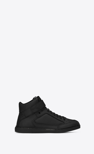 SAINT LAURENT High top sneakers U Sneaker mi-haute à scratch Max en cuir noir a_V4